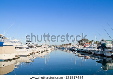 Marina with yachts and boats, logos and trademarks removed, San Diego, USA - stock photo