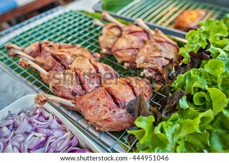 Marinated grilled healthy chicken breasts - stock photo
