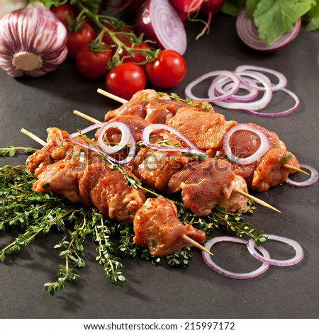 Marinated Meat with Onions and Thyme - stock photo