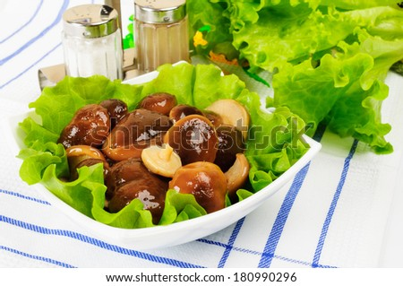 Marinated mushrooms with lettuce leaves. On a white background. - stock photo