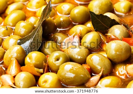 Marinated olives on a traditional craftsman market.Horizontal image.