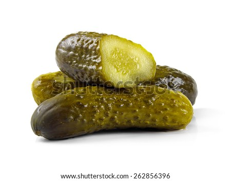 marinated pickled cucumbers isolated on white - stock photo