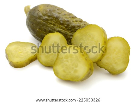 marinated pickles cucumbers isolated on white background  - stock photo