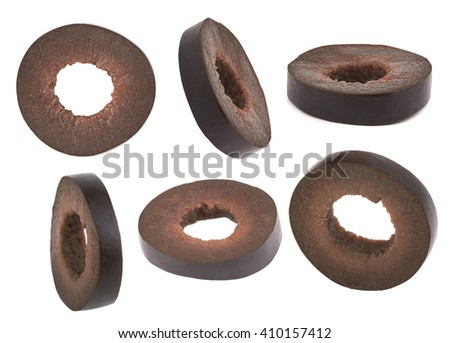 Marinated slices black olives isolated on white background - stock photo