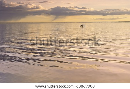 Marine bay in the morning when light rain with a lonely seagull sitting in the quiet and pastel colors - stock photo
