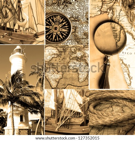 Marine collage with old compasses and maps. Sepia color