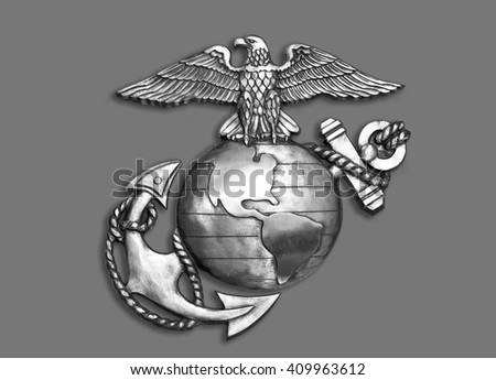 Marine eagle,globe and anchor brass emblem in black and white. - stock photo