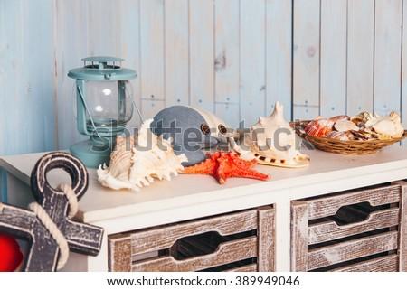 marine interior and decor - stock photo
