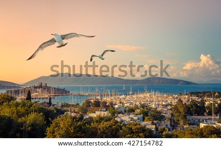 Marine landscape with yachts in a Bodrum harbor. Seaside view with medieval castle of St. Peter at sunrise. Travel and vacation in Turkey - leisure and yachting on Turkish Riviera. - stock photo