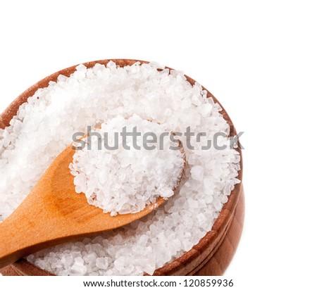 Marine rock salt isolated on white background - stock photo
