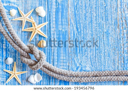 Marine rope with sea shells on deck - stock photo