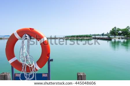 Marine Safety Equipment, lifeline - stock photo