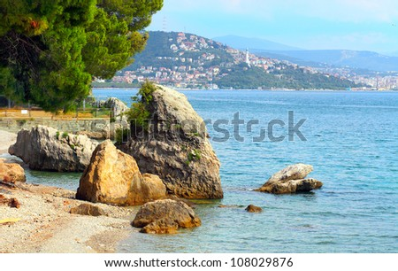 Marine sanctuary Trieste located in the Gulf of Trieste, Adriatic sea Italy.  It includes a coastline of 1.700 m and an offshore area of 120 ha, divided into a core zone 30 ha and a buffer zone 90 ha. - stock photo