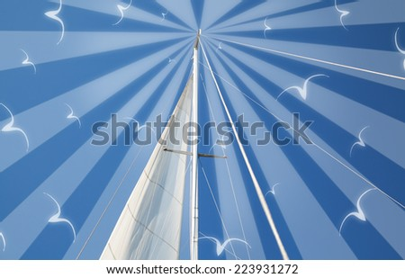 Marine theme art photo collage with mast and sail of yacht on blue sky background (used only my photo and brushes) - stock photo
