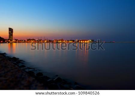 Marine town by night - stock photo