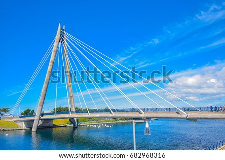 Marine Way Bridge in Southport. Liverpool, England.
