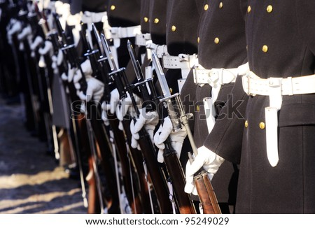 Marines line up in a parade. - stock photo