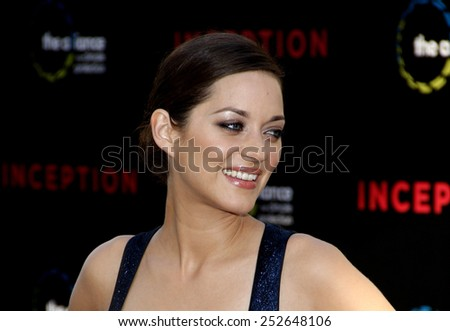 """Marion Cotillard at the Los Angeles Premiere of """"Inception"""" held at the Grauman's Chinese Theater in Los Angeles, California, United States on July 13, 2010. - stock photo"""
