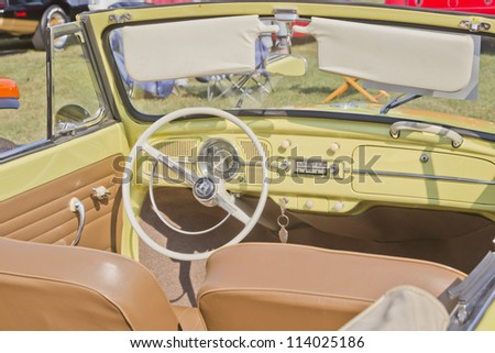 MARION, WI - SEPTEMBER 16: Interior of 1958 Volkswagon Beetle Convertible car at the 3rd Annual Not Just Another Car Show on September 16, 2012 in Marion, Wisconsin. - stock photo