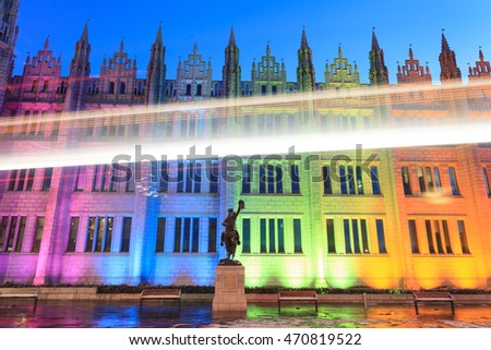 Marischal College view in the evening. Marischal college became Aberdeen City Council headquarters in 2011.