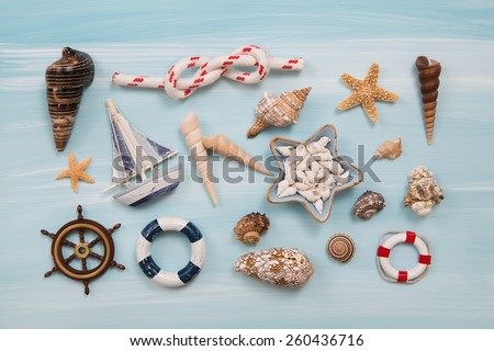 Maritime and nautical decoration for traveling concepts. - stock photo