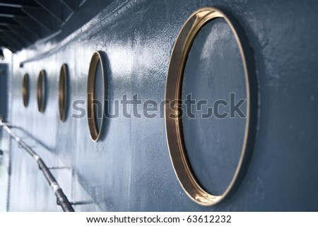 maritime scene of a ship - stock photo