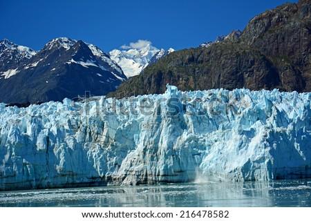 Marjerie glacier in glacier bay, in southeast  alaska - stock photo