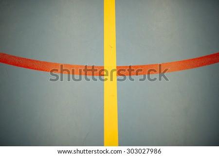 Mark basketball court, handball or footbal. Texture background. Lines - stock photo