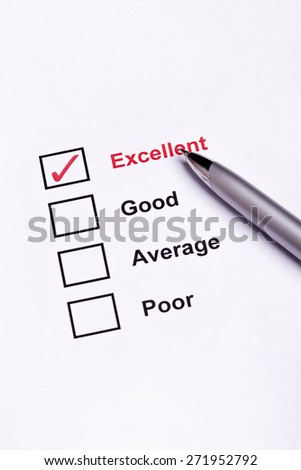 Mark Excellent on performance  evaluation - stock photo