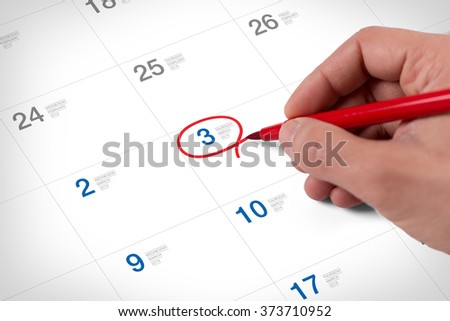 Mark on the calendar at March 3, 2016. Save the date. - stock photo