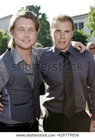 Mark Owen and Gary Barlow of 'Take That' at the Los Angeles premiere of 'Stardust' held at the Paramount Pictures Studios in Hollywood, USA on July 29, 2007.