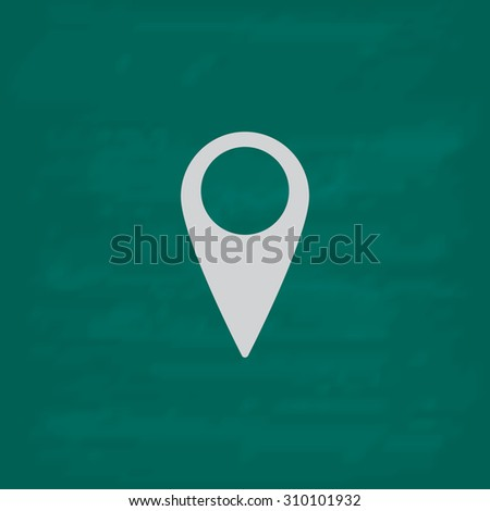 Mark, pointer.  Icon. Imitation draw with white chalk on green chalkboard. Flat Pictogram and School board background. Illustration symbol - stock photo