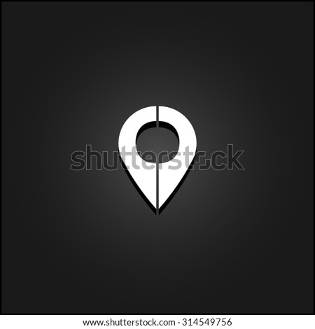 Mark pointer. White flat simple icon illustration with shadow on a black background. Symbol for web and mobile applications for use as logo, pictogram, icon, infographic element - stock photo