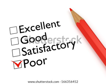 Mark Poor: ticked checkbox evaluation form and red pencil on white background - stock photo