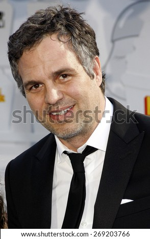 Mark Ruffalo at the 2015 MTV Movie Awards held at the Nokia Theatre L.A. Live in Los Angeles, USA on April 12, 2015. - stock photo