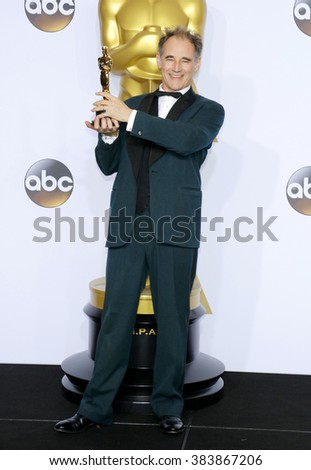 Mark Rylance at the 88th Annual Academy Awards - Press Room held at the Loews Hollywood Hotel in Hollywood, USA on February 28, 2016. - stock photo