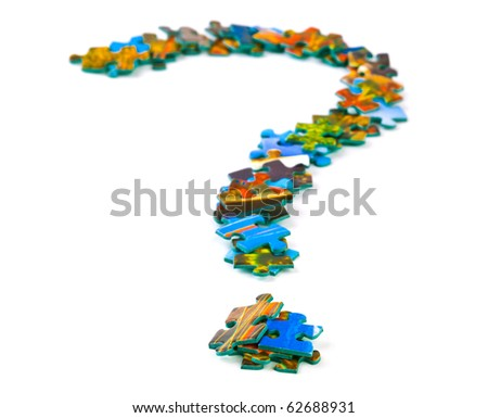 Mark sign made of puzzle isolated on white background - stock photo