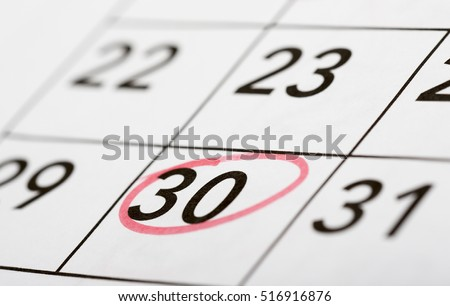 Mark the date number 30. The thirtieth day of the month is marked with a red circle. Focus point on the marked number.