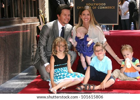 Mark Wahlberg with wife Rhea Durham and children, Ella, Grace and Michael at Mark Wahlberg's Star Ceremony on the Hollywood Walk Of Fame, Hollywood, CA. 07-29-10 - stock photo