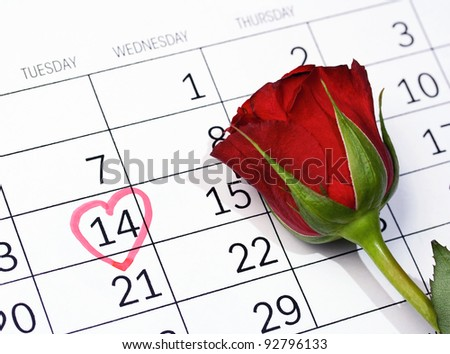 Marked with heart on calendar February 14 - Valentine's day - stock photo