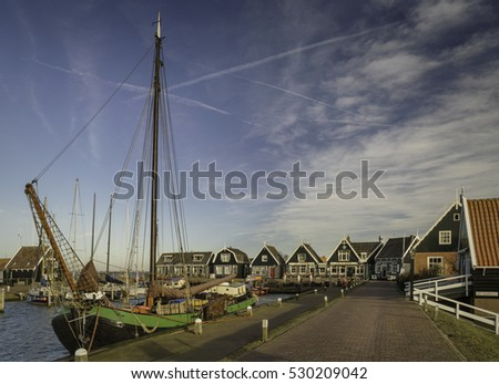 Marken, North Holland, the Netherlands - November 22, 2016 : Harbor of the small town and island of Marken in North Holland