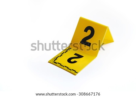 Marker of Crime Scene, Number 2 - stock photo