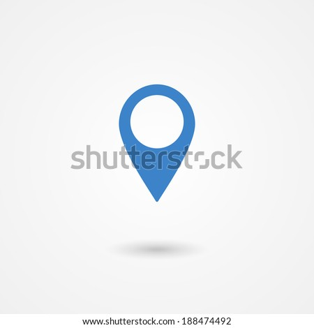 Marker or pin icon on white background - stock photo