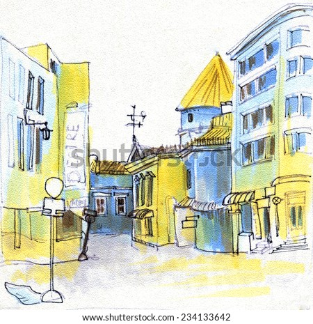 Marker sketch of a street going from old town to new - stock photo