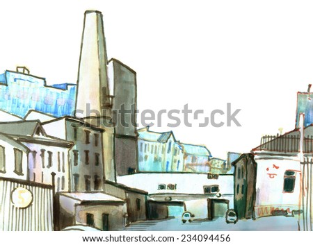 Marker sketch of a street view of urban district - stock photo