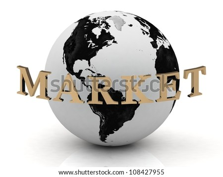 MARKET abstraction inscription around earth on a white background