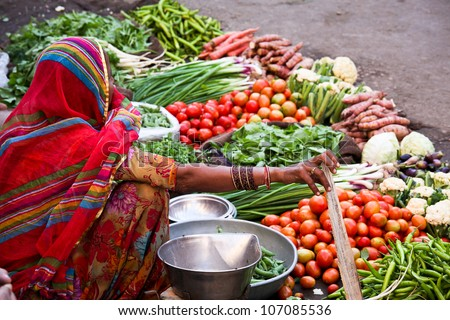 Market at Jaisalmer, India - stock photo