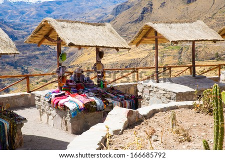 Market, Hawkers in Colca Canyon, Peru, South America. Colorful blanket,  scarf, cloth, ponchos from   wool of alpaca, llama