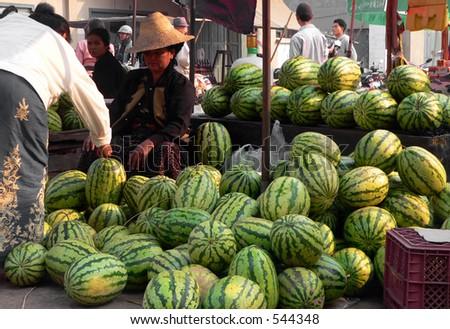 Market Melon Trader, Kentung  Myanmar (Burma) - stock photo