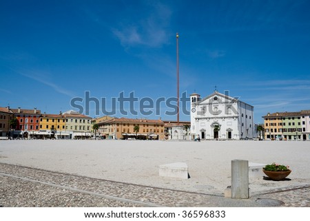 Market plaza in front of the Cathedral of Palmanova - Udine (IT) - stock photo